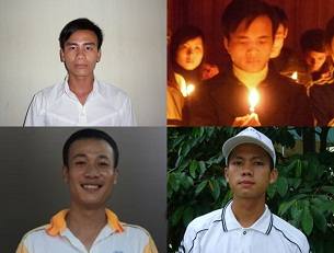 Clockwise from top left, Catholic activists Chu Manh Son, Dau Van Duong, Hoang Phong, and Tran Huu Duc, in undated photos.