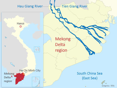 The map shows the Mekong Delta region in southern Vietnam.