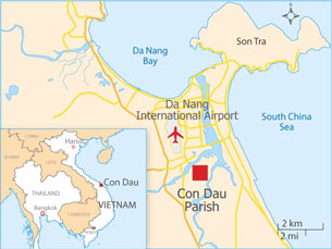 Con Dau Parish is located just south of Da Nang in central Vietnam. Credit: RFA