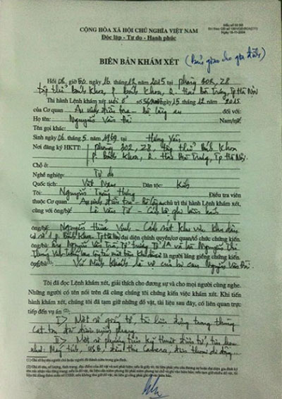 A copy of the report detailing the police search of Nguyen Van Dai's home in Hanoi and his arrest. Credit: Vu Minh Khanh