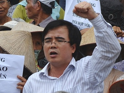 Le Quoc Quan takes part in an anti-China rally in Hanoi, July 8, 2012. Photo credit: AFP.