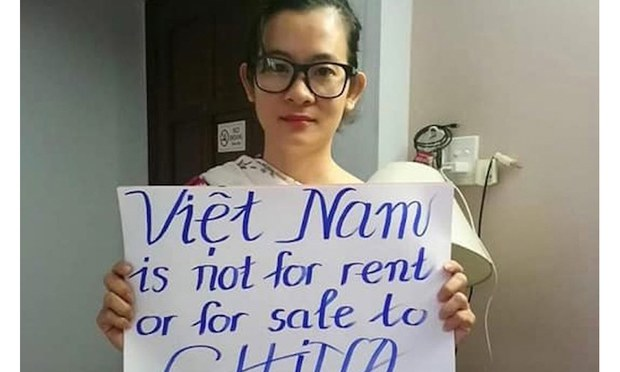 Vietnamese Facebook user Dinh Thi Thu Tuy, now jailed for seven years on a charge of opposing the state,  is shown in an undated photo.