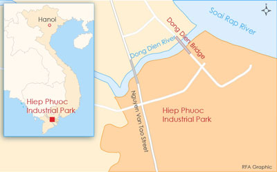 A map shows the Hiep Phuoc Industrial Park where the Hao Duong factory is located. Credit: RFA