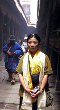 Woeser at the Jokhang Temple in Lhasa in 2005. Photo provided by Woeser.