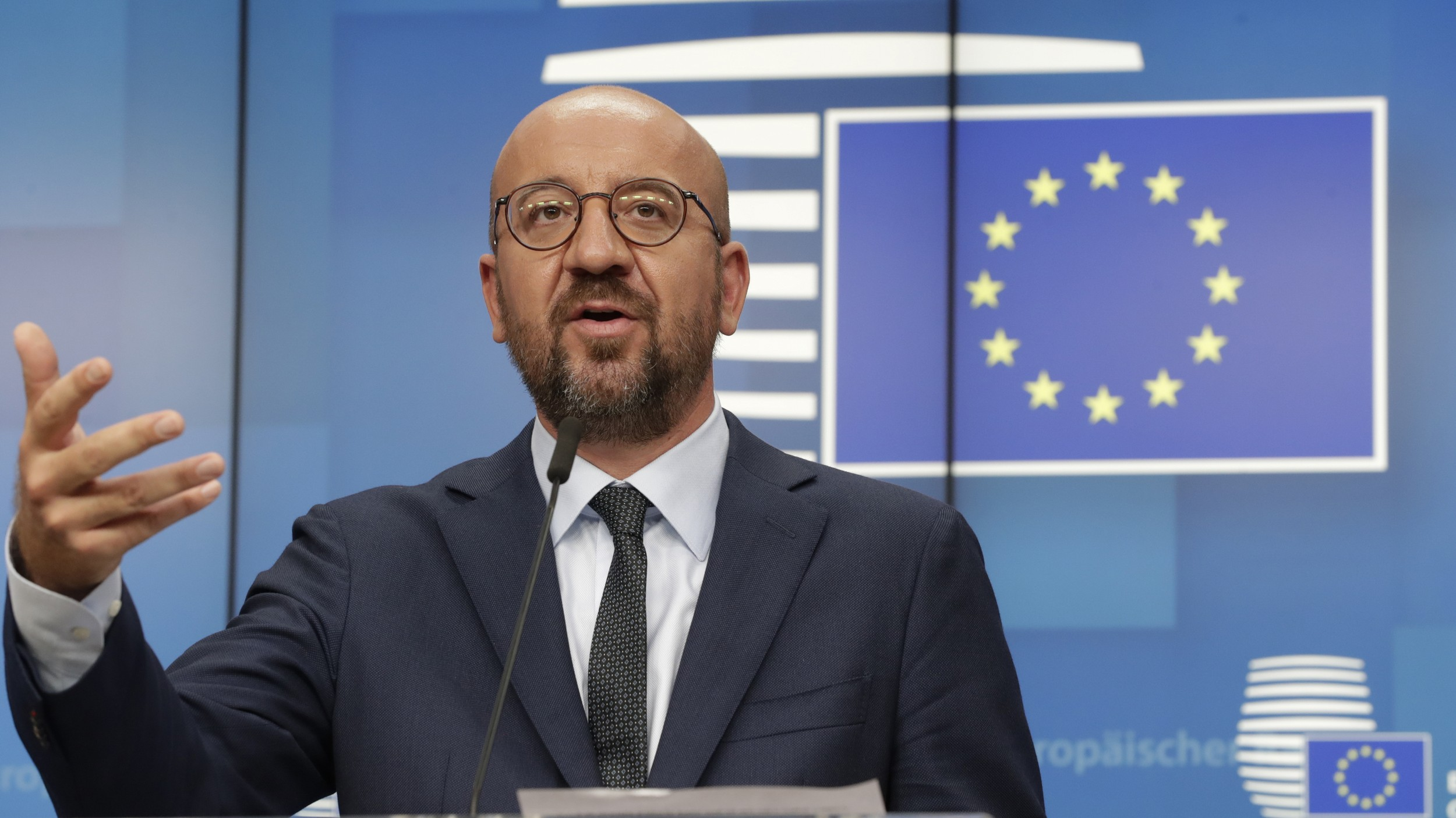 European Council President Charles Michel gestures as he addresses a press conference at the end of a European summit in Brussels, Aug. 19, 2020.