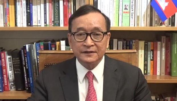 លោក សម រង្ស៊ី ប្រធានស្ដីទីគណបក្ស សង្គ្រោះជាតិ ថ្លែងសារជាវីដេអូ តាមទំព័រហ្វេសប៊ុករបស់លោក នៅថ្ងៃទី១៥ ខែមីនា ឆ្នាំ២០១៩។ ហ្វេសប៊ុក Sam Rainsy