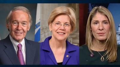 (ពីឆ្វេងទៅស្ដាំ) លោក អេដវើដ ម៉ារឃី (Edward J. Markey) សមាជិកព្រឹទ្ធសភា អ្នកស្រី អេលីហ្សាប៊ែត វ៉រែន (Elizabeth Warren) សមាជិកព្រឹទ្ធសភា និងអ្នកស្រី ឡូរី ត្រាហ៊ែន (Lori Trahan) សមាជិករដ្ឋសភា។