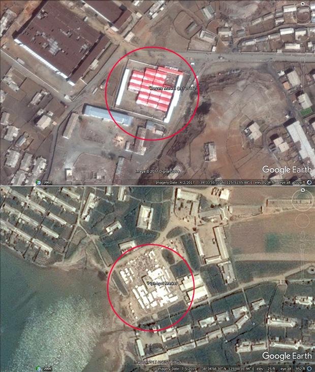 황해남도 은율군에 최근 새로 생긴 시장.(사진 아래)
