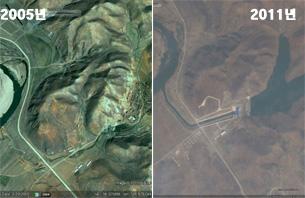 예성강 청년2호 발전소 건립전(2005년)과 건립후(2011년) 모습