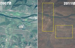 예성강 청년3호 발전소 건립전(2007년)과 건립 중인(2011년) 모습
