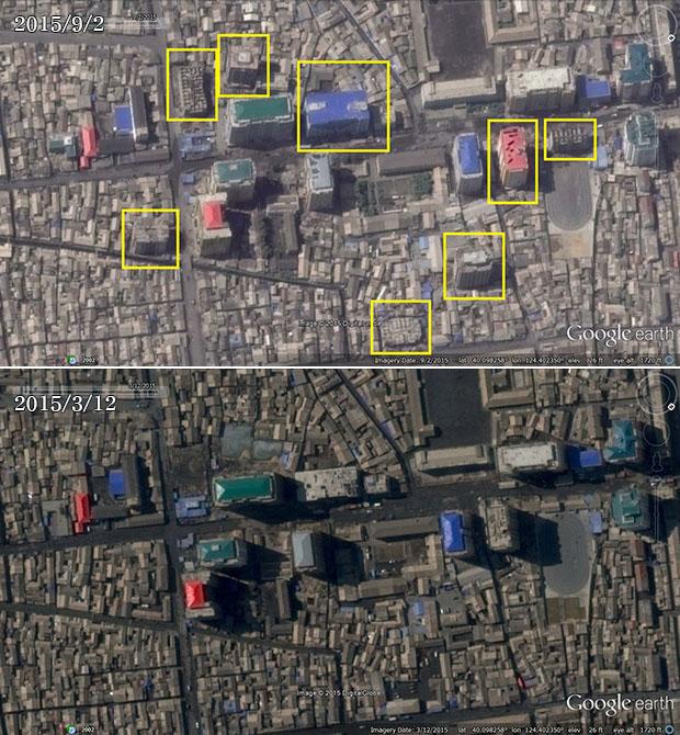 북한 평안북도 신의주 시에 건설 중인 고층 아파트와 건물들. 6개월 사이 8개의 새 고층 건물이 완공되거나 건설 중이며, 대부분 아파트인 것으로 추정된다.  사진-구글 어스 캡쳐/커티스 멜빈 제공