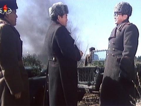 북한 전쟁영화, '5시부터 5시까지'의 한 장면.