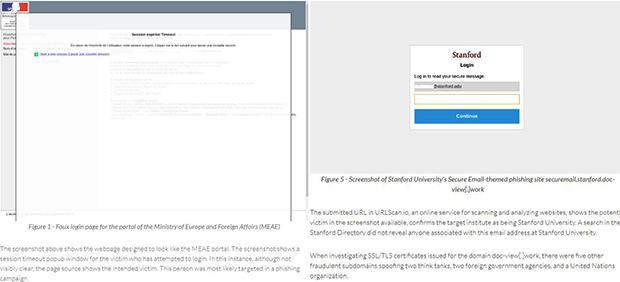 북한 추정 해커가 프랑스 외교부(왼쪽)와 스탠포드대학교의 웹사이트와 유사하게 만든 위장 피싱웹사이트.
