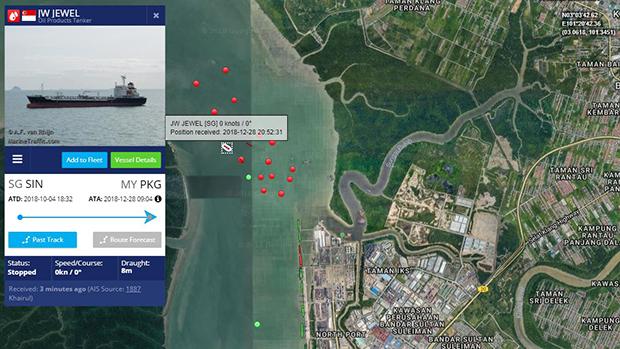 지난 28일 오전 9시4분께 말레이시아 영해인 포트클랑(Port Klang)항에 머무르고 있는 'JW 주얼'호.
