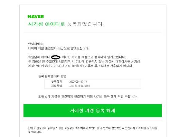 한국 내 검색 사이트인 '네이버'를 사칭한 전자우편.