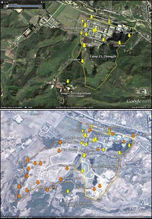 2006년 8월 29일 촬영한 위성사진(위)에서 14개였던 경비초소가 2012년 5월 18일에 촬영된 위성사진(아래)에는 총 36개로 늘면서 25호 정치범수용소의 면적도 두 배 가까이 넓어졌다.