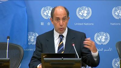 토마스 퀸타나 유엔 북한인권 특별보고관이 대북 인도적 지원에 대한 보고서를 토대로 부분적 제재 완화에 대해 말하고 있다.