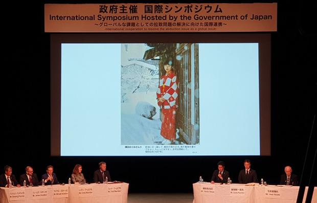 납북자 문제 해결을 위한 국제심포지엄에 참석한 미국과 일본, 태국의 납북 피해자 가족들이 발표하고 있다.