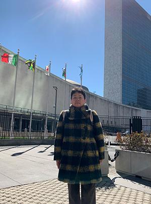뉴욕 유엔 본부를 방문한 가와사키 에이코 씨.