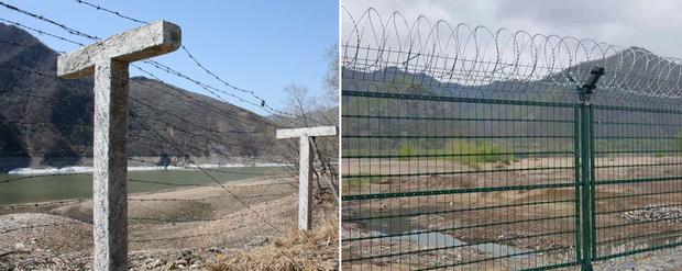 """""""중, 북 회령시 강 건너 국경지역에 철조망 교체작업"""""""