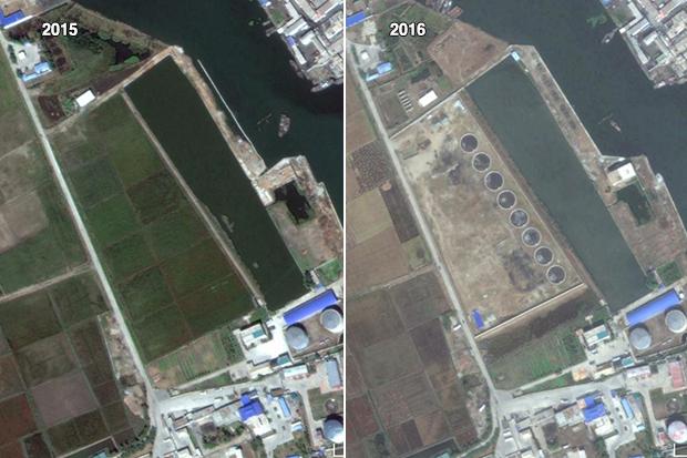 정유시설 위에는 이전의 논밭을 없애고 8개 원형의 시설을 짓고 있다. 새로운 석유 보관시설일 가능성이 클 것으로 보인다.