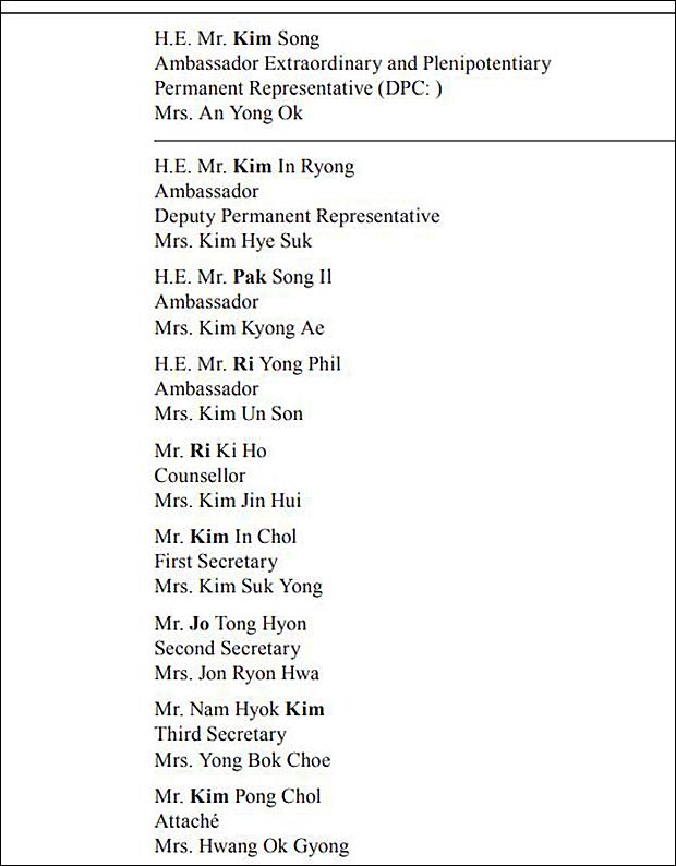 유엔 의전•연락지원실이 각국 대사 및 직원 명단을 토대로 작성한 최신 '블루 북'(Blue Book)에 따르면, 북한이 공식적으로 파견한 미국 뉴욕 유엔 주재 북한대표부 소속 북한 외교관은 김성 대사와 김인룡 차석 대사를 포함해 총 9명으로 나타났다.