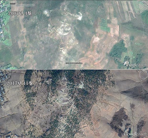 북한 황해북도 신계군에서 시행된 나무 심기 사업으로 산과 언덕 등의 변화를 비교한 모습. (2007년/2017년)