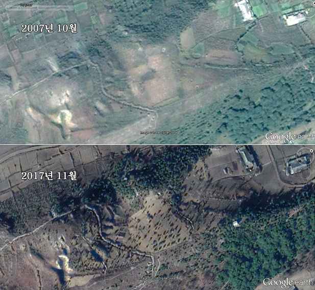 북한 황해북도 신계군에서 시행한 나무 심기 사업으로 산과 언덕 등의 변화를 비교한 모습. (2007년/2017년)
