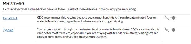 북한에서 오염된 음식이나 물을 통해 장티푸스(Typhoid Fever)에 걸릴 수 있다는 경고와 함께 북한을 여행하는 사람에게 예방접종을 권하는 미 질병통제예방센터(CDC)의 안내문.