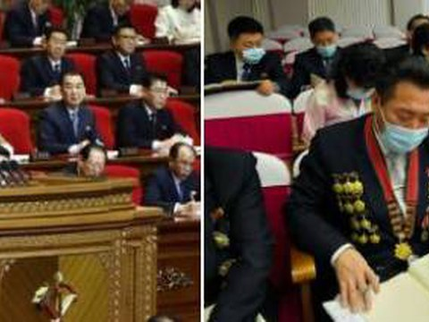 김정은 노동당 총비서가 참석한 8차 당대회 모습(왼쪽)과 군사, 공업, 농업 등 부문별 협의회 모습(오른쪽).