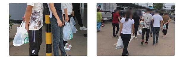 경찰서로 향하기 전 필요한 물품을 구매하는 탈북자들.