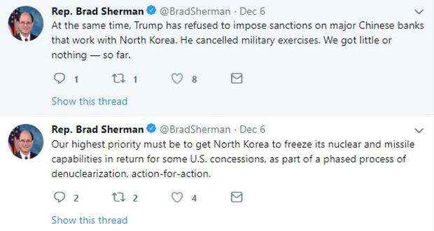 브래드 셔먼(캘리포니아) 하원의원 트위터.