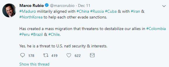 상원 중진인 마르코 루비오(플로리다, 공화) 의원 트위터.