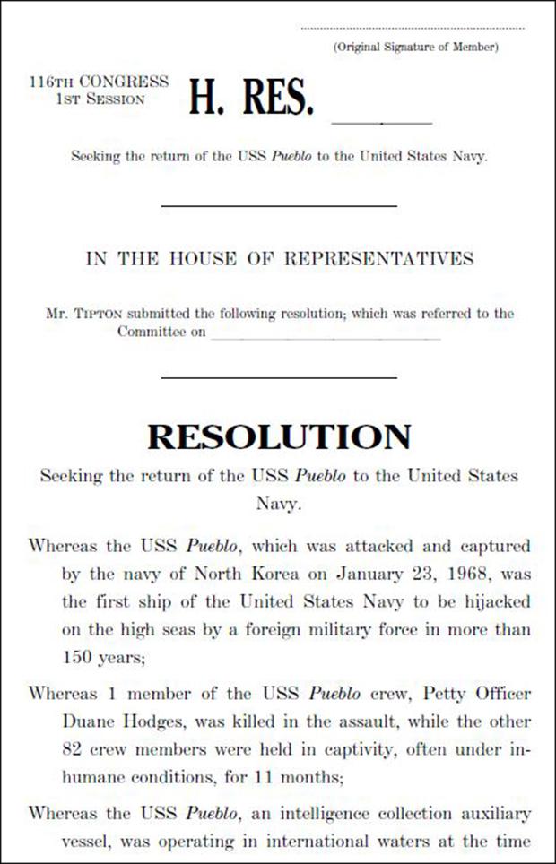 스캇 팁튼 하원의원이 9일 재발의한 푸에블로호 촉구 결의안(H.Res 479)