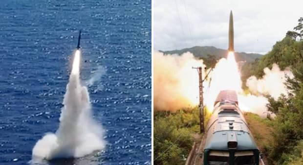 한국이 독자 개발한 잠수함발사탄도미사일(SLBM)의 발사 장면(왼쪽)과 북한이 열차에서 탄도미사일을 발사하는 장면.