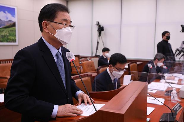 """정의용 """"한국 정부의 '완전한 비핵화', CVID와 다르지 않아"""""""