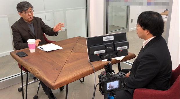 미국 뉴욕에서 자유아시아방송(RFA) 기자와 만난 김동석 미주 한인유권자연대(KAGC) 대표.