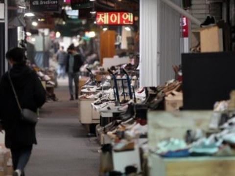 서울 동대문 시장 신발도매상가의 한산한 모습.