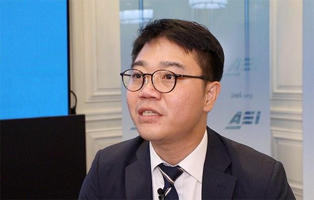 지난 9월 18일 AEI(미국 기업연구소)에서 자유아시아방송과 회견하고 있다.