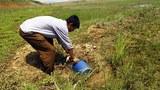 남포 인근의 한 협동농장에서 농장원이 밭에 줄 물을 퍼고 있다.