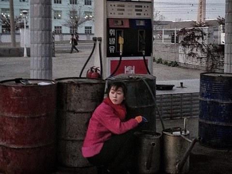 북한 함흥에 있는 한 주유소.