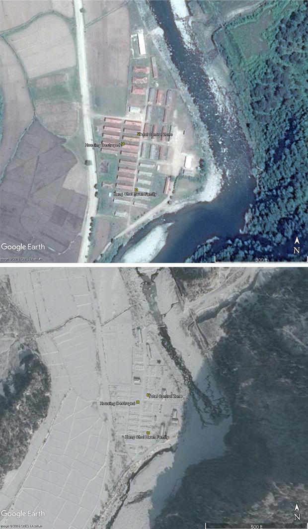 요덕 정치범 수용소에서 수감 시설을 철거하기 전 윗사진(2016년 6월 2일)과 후(2017년 2월 19일)의 모습.