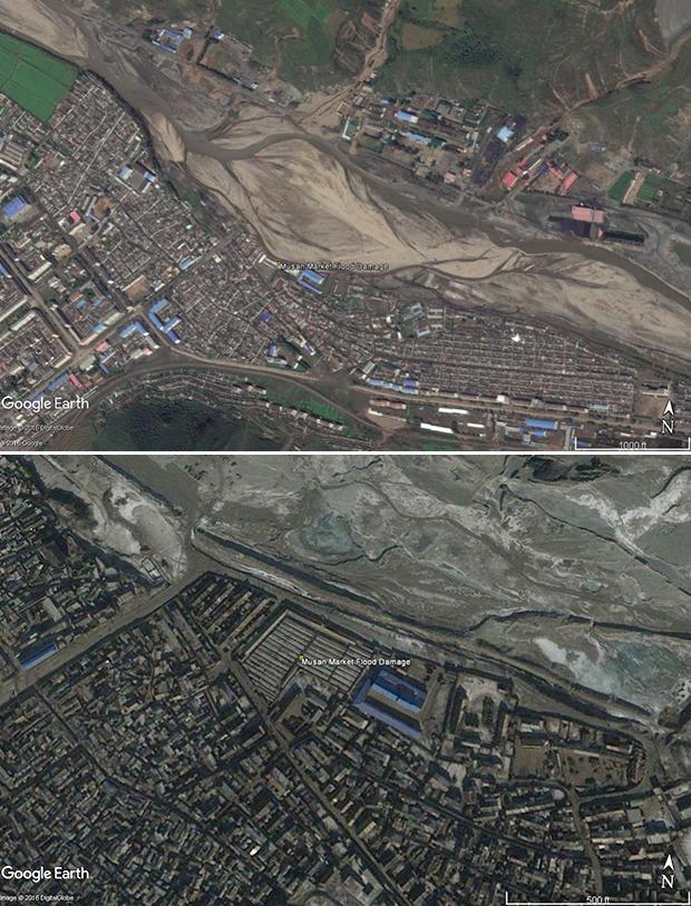 함경북도 무산군의 홍수피해 상황을 담은 위성사진. 강물이 범람해 무산시장과 인근 살림집, 건물 등을 휩쓸어 버린 현장이 그대로 보인다. (아래는 이전 시장의 모습)