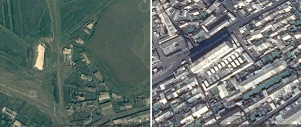 함경북도에 새로 생긴 락산시장(왼쪽)과 평안남도 강서군에 새로 들어선 강서시장.