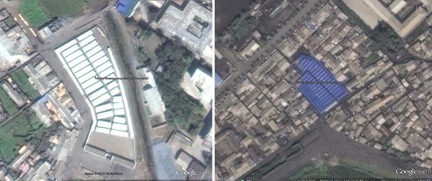 황해북도 은파 광산 안에 조성한 은파광명시장. 광부들을 대상으로 한 이 시장도 새 지붕과 확장 공사를 진행했다(왼쪽). 평안북도 신의주시의 신포시장. 매대 수를 늘리고 새 지붕을 덮으면서 새 단장을 했다.