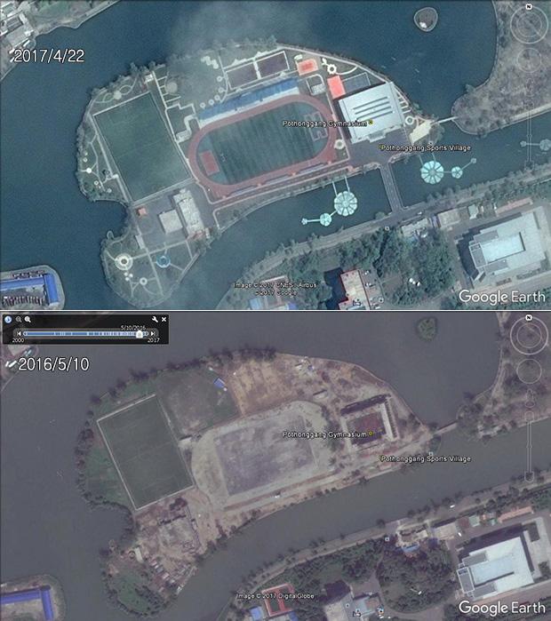 평양시 보통강변에 조성한 체육 단지(공원). 일 년도 안 된 사이에 두 개의 축구장과 실내체육과 숙소 등 체육 단지가 완공됐다.