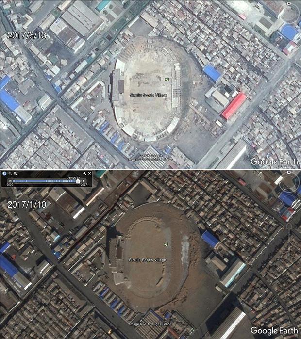 평안북도 신의주에도 빠른 속도로 경기장과 관련 시설 등 체육 단지가 조성 중이다. 5개월 사이에 뚜렷한 변화를 확인할 수 있다.