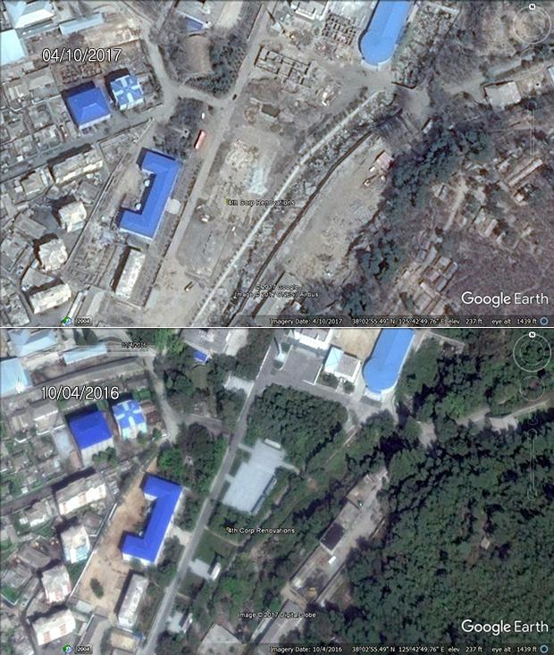 인민군 제233 대연합부대의 공사 현장 모습. 이곳에도 김 부자의 동상이 세워질 것으로 예상된다. 그동안 북한은 공군과 해군 사령부 등 최고 지휘부는 물론 다른 하급 부대에도 김 부자의 동상을 건립하면서 우상화 작업을 강화하고 있다.