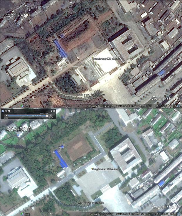 김일성-김정일 부자의 동상이 세워지는 황해북도 송림. 이전 김일성 주석의 동상이 사라지고, 동상이 놓여있던 자리와 주변 환경 등에 대대적인 공사가 진행 중이다.