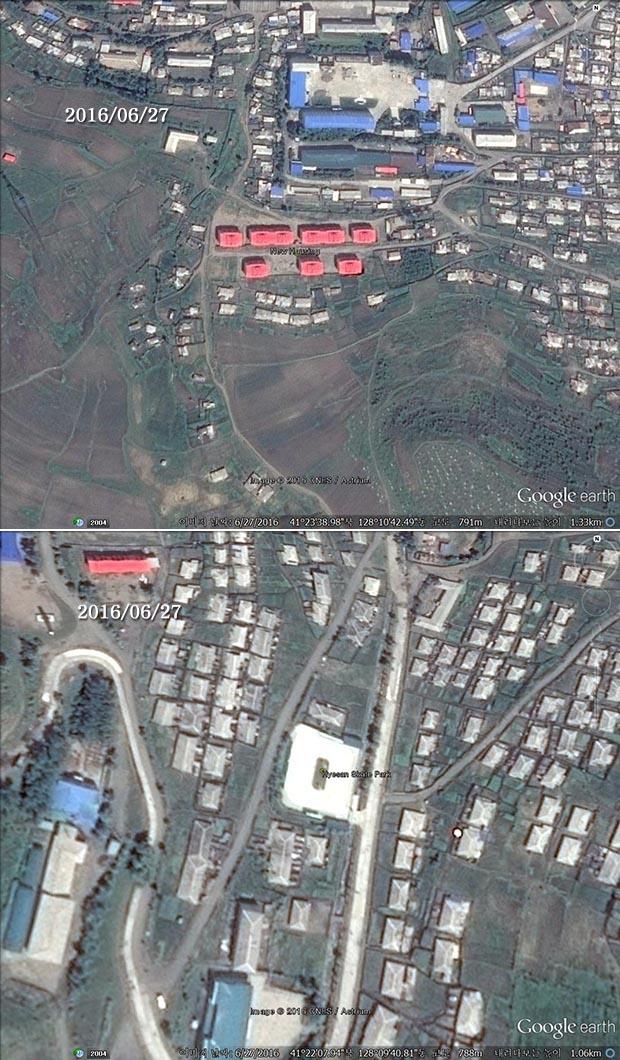 혜산시 주민을 위한 아파트(위)와 스케이트 공원 건설. 사진-구글 어스 캡쳐/커티스 멜빈 제공